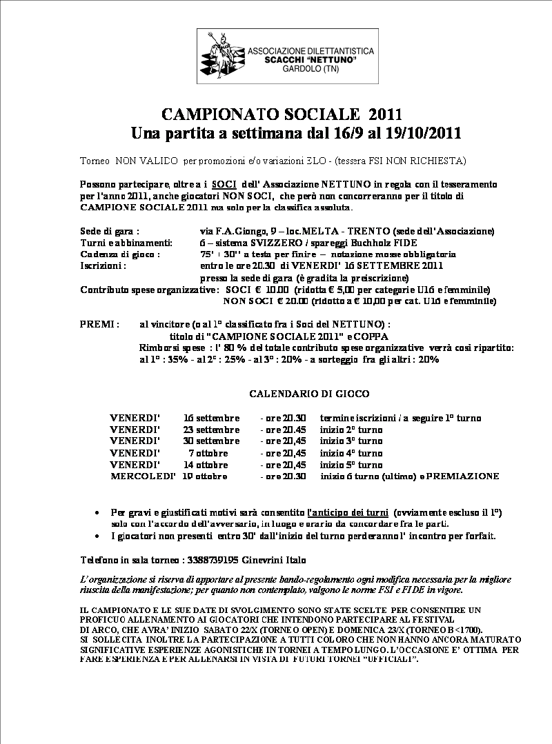 Fsi Scacchi Calendario.Campionato Sociale 2011 Nettuno Scacchi