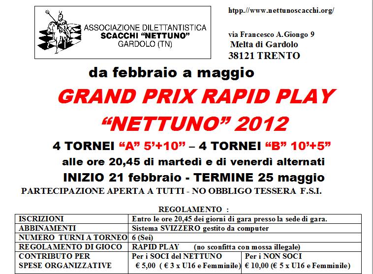 Calendario Tornei Scacchi.Grandprix 2012 Nettuno Scacchi